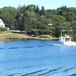 A lobster boat in the cove