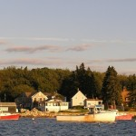 Lobster boats in sunset