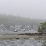 Lobster boats at the head of the bay in fog