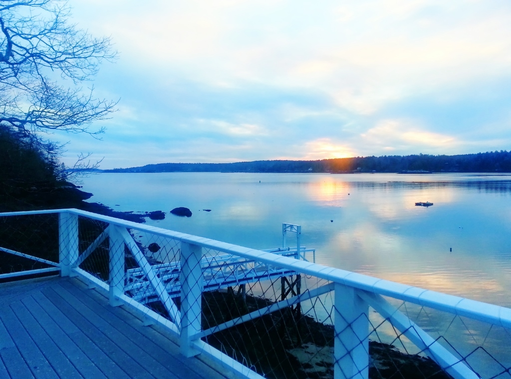 Winter sunset from the Seanook top deck, vacation respite in East Boothbay