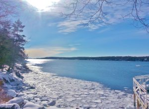 Winter morning looking down Linekin Bay, your winter respite in East Boothbay
