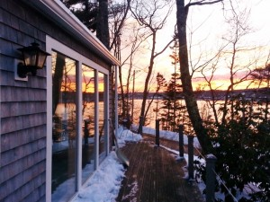 Winter sunset from the deck at Paradise Cottage