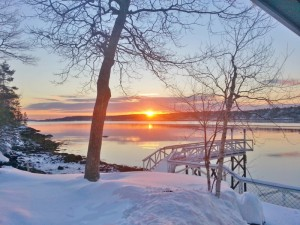 Lakeside View of Sunset in Wintertime