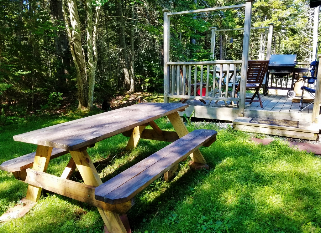 Picnic table and deck in the shaded back yard at Tide Walk